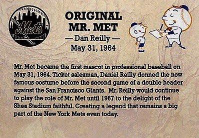 Mr Met 1st Ever Baseball Mascot